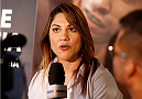SACRAMENTO, CA - AUGUST 28:  Bethe Correia interacts with media during the UFC 177 Ultimate Media Day at the Sleep Train Arena on August 28, 2014 in Sacramento, California. (Photo by Josh Hedges/Zuffa LLC/Zuffa LLC via Getty Images)