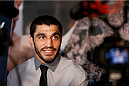 SACRAMENTO, CA - AUGUST 28:  Ramsey Nijem interacts with media during the UFC 177 Ultimate Media Day at the Sleep Train Arena on August 28, 2014 in Sacramento, California. (Photo by Josh Hedges/Zuffa LLC/Zuffa LLC via Getty Images)