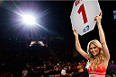 SACRAMENTO, CA - AUGUST 30:  UFC Octagon Girl Chrissy Blair introduces a round during the UFC 177 event at Sleep Train Arena on August 30, 2014 in Sacramento, California.  (Photo by Josh Hedges/Zuffa LLC/Zuffa LLC via Getty Images)
