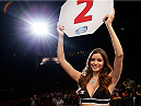 SACRAMENTO, CA - AUGUST 30:  UFC Octagon Girl Vanessa Hanson introduces a round during the UFC 177 event at Sleep Train Arena on August 30, 2014 in Sacramento, California.  (Photo by Josh Hedges/Zuffa LLC/Zuffa LLC via Getty Images)