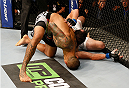 SACRAMENTO, CA - AUGUST 30:  (L-R) Yancy Medeiros secures a choke submission against Damon Jackson in their lightweight bout during the UFC 177 event at Sleep Train Arena on August 30, 2014 in Sacramento, California.  (Photo by Josh Hedges/Zuffa LLC/Zuffa LLC via Getty Images)