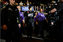 SACRAMENTO, CA - AUGUST 30:  Yancy Medeiros enters the arena before facing Brandon Jackson in their lightweight fight at UFC 177 inside the Sleep Train Arena on August 30, 2014 in Sacramento, California. (Photo by Jeff Bottari/Zuffa LLC/Zuffa LLC via Getty Images)