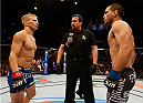 SACRAMENTO, CA - AUGUST 30:  (L-R) Opponents T.J. Dillashaw and Joe Soto face off before their UFC bantamweight championship bout during the UFC 177 event at Sleep Train Arena on August 30, 2014 in Sacramento, California.  (Photo by Josh Hedges/Zuffa LLC/Zuffa LLC via Getty Images)