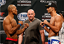 "MASHANTUCKET, CT - SEPTEMBER 04:  (L-R) Opponents Ronaldo ""Jacare"" Souza of Brazil and Gegard Mousasi of The Netherlands face off during the UFC Fight Night weigh-in at Foxwoods Resort Casino on September 4, 2014 in Mashantucket, Connecticut.  (Photo by Josh Hedges/Zuffa LLC/Zuffa LLC via Getty Images)"