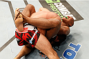 MASHANTUCKET, CT - SEPTEMBER 05:  (R-L) Ronaldo 'Jacare' Souza submits Gegard Mousasi by a guillotine choke in their middleweight bout during the UFC Fight Night event at Foxwoods Resort Casino on September 5, 2014 in Mashantucket, Connecticut.  (Photo by Josh Hedges/Zuffa LLC/Zuffa LLC via Getty Images)