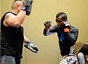 MASHANTUCKET, CT - SEPTEMBER 5:  Chris Beal warms up backstage during the UFC Fight Night event inside the Grand Theatre at Foxwoods Resort Casino on September 5, 2014 in Mashantucket, Connecticut. (Photo by Jeff Bottari/Zuffa LLC/Zuffa LLC via Getty Images)