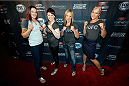 MASHANTUCKET, CT - SEPTEMBER 5: (L-R) The Ultimate Fighter season 20 cast members Joanne Calderwood, Aisling Daly, Lisa Ellis and Felice Herrig arrive at the UFC's The Ultimate Fighter 20 event inside the Shrine at Foxwoods Resort Casino on September 5, 2014 in Mashantucket, Connecticut. (Photo by Jeff Bottari/Zuffa LLC/Zuffa LLC via Getty Images)