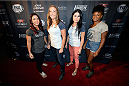 MASHANTUCKET, CT - SEPTEMBER 5: (L-R) The Ultimate Fighter season 20 cast members Tecia Torres, Heather Clark, Randa Markos and Felice Herrig arrive at the UFC's The Ultimate Fighter 20 event inside the Shrine at Foxwoods Resort Casino on September 5, 2014 in Mashantucket, Connecticut. (Photo by Jeff Bottari/Zuffa LLC/Zuffa LLC via Getty Images)