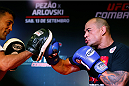 BRASILIA, BRAZIL - SEPTEMBER 11:  Gleison Tibau of Brazil holds an open training session for media at the Brasilia Shopping mall on September 11, 2014 in Brasilia, Brazil. (Photo by Josh Hedges/Zuffa LLC/Zuffa LLC via Getty Images)
