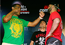 "BRASILIA, BRAZIL - SEPTEMBER 11:  (L-R) Opponents Antonio ""Bigfoot"" Silva of Brazil and Andrei Arlovski of Belarus face off at the Brasilia Shopping mall on September 11, 2014 in Brasilia, Brazil. (Photo by Josh Hedges/Zuffa LLC/Zuffa LLC via Getty Images)"