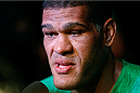 "BRASILIA, BRAZIL - SEPTEMBER 11:  Antonio ""Bigfoot"" Silva of Brazil interacts with media an open training session for media at the Brasilia Shopping mall on September 11, 2014 in Brasilia, Brazil. (Photo by Josh Hedges/Zuffa LLC/Zuffa LLC via Getty Images)"