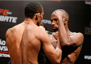 BRASILIA, BRAZIL - SEPTEMBER 12:  (L-R) Opponents Francisco Trinaldo of Brazil and Leandro Silva of Brazil face off during the UFC Fight Night weigh-in at the Nilson Nelson Gymnasium on September 12, 2014 in Brasilia, Brazil. (Photo by Josh Hedges/Zuffa LLC/Zuffa LLC via Getty Images)
