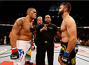 "BRASILIA, BRAZIL - SEPTEMBER 13:  (L-R) Opponents Antonio ""Bigfoot"" Silva of Brazil and Andrei Arlovski of Belarus face off before their heavyweight bout during the UFC Fight Night event inside Nilson Nelson Gymnasium on September 13, 2014 in Brasilia, Brazil.  (Photo by Josh Hedges/Zuffa LLC/Zuffa LLC via Getty Images)"