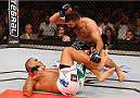 BRASILIA, BRAZIL - SEPTEMBER 13:  Andrei Arlovski (black shorts) of Belarus knocks out Antonio