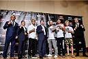 TOKYO, JAPAN - SEPTEMBER 17:  (L-R) Kiichi Kunimoto, Kyoji Horiguchi, Masanori Kanehara, Joe Carr, Katsunori Kikuno, Takenori Sato, Michinori Tanaka and Kazuki Tokudome pose for media during the UFC Ultimate Media Day at the Hilton Tokyo on September 17, 2014 in Tokyo, Japan.  (Photo by Keith Tsuji/Zuffa LLC/Zuffa LLC via Getty Images)