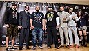TOKYO, JAPAN - SEPTEMBER 17:  (L-R) Myles Jury, Amir Sadollah, Mark Hunt, Roy Nelson, Yoshinori Akiyama, Takanori Gomi and Rin Nakai pose for media during the UFC Ultimate Media Day at the Hilton Tokyo on September 17, 2014 in Tokyo, Japan.  (Photo by Keith Tsuji/Zuffa LLC/Zuffa LLC via Getty Images)