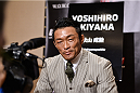 TOKYO, JAPAN - SEPTEMBER 17:  Yoshinori Akiyama interacts with media during the UFC Ultimate Media Day at the Hilton Tokyo on September 17, 2014 in Tokyo, Japan.  (Photo by Keith Tsuji/Zuffa LLC/Zuffa LLC via Getty Images)
