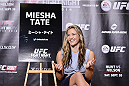 TOKYO, JAPAN - SEPTEMBER 17:  Miesha Tate interacts with media during the UFC Ultimate Media Day at the Hilton Tokyo on September 17, 2014 in Tokyo, Japan.  (Photo by Keith Tsuji/Zuffa LLC/Zuffa LLC via Getty Images)