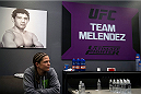 LAS VEGAS, NV - JULY 10:  Team Melendez fighter Emily Kagan prepares to warm up before facing team Pettis fighter Joanne Calderwood during filming of season twenty of The Ultimate Fighter on July 10, 2014 in Las Vegas, Nevada. (Photo by Brandon Magnus/Zuffa LLC/Zuffa LLC via Getty Images) *** Local Caption *** Emily Kagan