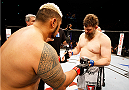 SAITAMA, JAPAN - SEPTEMBER 20: (L to R) Mark Hunt and Roy Nelson touch gloves before their heavyweight bout during the UFC Fight Night event inside the Saitama Arena on September 20, 2014 in Saitama, Japan. (Photo by Mitch Viquez/Zuffa LLC/Zuffa LLC via Getty Images)
