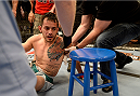 LAS VEGAS, NV - JUNE 3:  Team Velasquez fighter Henry Briones attempts to get up after being knocked out by team Werdum fighter Marlon Vera in their preliminary fight during filming of The Ultimate Fighter Latin America on June 3, 2014 in Las Vegas, Nevada. (Photo by Jeff Bottari/Zuffa LLC/Zuffa LLC via Getty Images) *** Local Caption *** Henry Briones