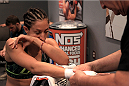 LAS VEGAS, NV - JULY 15:  Team Pettis fighter Jessica Penne gets her hands wrapped before facing team Melendez fighter Lisa Ellis during filming of season twenty of The Ultimate Fighter on July 15, 2014 in Las Vegas, Nevada. (Photo by Brandon Magnus/Zuffa LLC/Zuffa LLC via Getty Images) *** Local Caption *** Jessica Penne