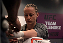 LAS VEGAS, NV - JULY 15:  Team Melendez fighter Lisa Ellis gets her hands wrapped before facing team Pettis fighter Jessica Penne during filming of season twenty of The Ultimate Fighter on July 15, 2014 in Las Vegas, Nevada. (Photo by Brandon Magnus/Zuffa LLC/Zuffa LLC via Getty Images) *** Local Caption *** Lisa Ellis