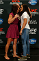 LAS VEGAS, NV - SEPTEMBER 25:  (L-R) Opponents Cat Zingano and Amanda Nunes of Brazil face off during the UFC 178 Ultimate Media Day at the MGM Grand Hotel/Casino on September 25, 2014 in Las Vegas, Nevada. (Photo by Josh Hedges/Zuffa LLC/Zuffa LLC via Getty Images)