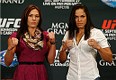 LAS VEGAS, NV - SEPTEMBER 25:  (L-R) Opponents Cat Zingano and Amanda Nunes of Brazil pose for photos during the UFC 178 Ultimate Media Day at the MGM Grand Hotel/Casino on September 25, 2014 in Las Vegas, Nevada. (Photo by Josh Hedges/Zuffa LLC/Zuffa LLC via Getty Images)