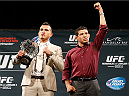LAS VEGAS, NV - SEPTEMBER 26: (L-R) Opponents Anthony Pettis and Gilbert Melendez pose for photos during the UFC 181 press conference at the MGM Grand Conference Center on September 26, 2014 in Las Vegas, Nevada. (Photo by Josh Hedges/Zuffa LLC/Zuffa LLC via Getty Images)