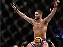 LAS VEGAS, NV - SEPTEMBER 27:  Jorge Masvidal celebrates his win over James Krause in their lightweight fight during the UFC 178 event inside the MGM Grand Garden Arena on September 27, 2014 in Las Vegas, Nevada.  (Photo by Jeff Bottari/Zuffa LLC/Zuffa LLC via Getty Images)