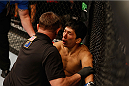 LAS VEGAS, NV - SEPTEMBER 27:  Takeya Mizugaki recovers after losing his fight to Dominick Cruz in their bantamweight fight during the UFC 178 event inside the MGM Grand Garden Arena on September 27, 2014 in Las Vegas, Nevada.  (Photo by Josh Hedges/Zuffa LLC/Zuffa LLC via Getty Images)