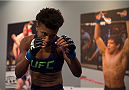 LAS VEGAS, NV - JULY 18:  Team Melendez fighter Angela Hill warms up before facing team Pettis fighter Carla Esparza during filming of season twenty of The Ultimate Fighter on July 18, 2014 in Las Vegas, Nevada. (Photo by Brandon Magnus/Zuffa LLC/Zuffa LLC via Getty Images) *** Local Caption *** Angela Hill