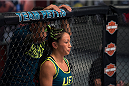 LAS VEGAS, NV - JULY 18:  Team Pettis fighter Carla Esparza enters the Octagon before facing team Melendez fighter Angela Hill during filming of season twenty of The Ultimate Fighter on July 18, 2014 in Las Vegas, Nevada. (Photo by Brandon Magnus/Zuffa LLC/Zuffa LLC via Getty Images) *** Local Caption *** Carla Esparza