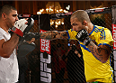STOCKHOLM, SWEDEN - OCTOBER 01:  Akira Corassani of Sweden holds an open training session for media and fans at the Grand Hotel on October 1, 2014 in Stockholm, Sweden. (Photo by Josh Hedges/Zuffa LLC/Zuffa LLC via Getty Images)