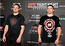 STOCKHOLM, SWEDEN - OCTOBER 01:  (L-R) Opponents Gunnar Nelson of Iceland and Rick Story pose for photos at the Grand Hotel on October 1, 2014 in Stockholm, Sweden. (Photo by Josh Hedges/Zuffa LLC/Zuffa LLC via Getty Images)