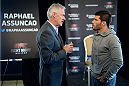 HALIFAX, NS - OCTOBER 2:  (L-R) UFC Managing Director of Canada Tom Wright speaks with Raphael Assuncao of Brazil during the UFC Fight Night Ultimate Media Day on October 2, 2014 in Halifax, Nova Scotia, Canada. (Photo by Jeff Bottari/Zuffa LLC/Zuffa LLC via Getty Images)