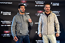 HALIFAX, NS - OCTOBER 2:  (L-R) Raphael Assuncao and Bryan Caraway face off during the UFC Fight Night Ultimate Media Day on October 2, 2014 in Halifax, Nova Scotia, Canada. (Photo by Jeff Bottari/Zuffa LLC/Zuffa LLC via Getty Images)