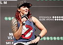 STOCKHOLM, SWEDEN - OCTOBER 03:  UFC strawweight contender Joanne Calderwood of Scotland interacts with fans during a Q&A session before the UFC weigh-in at the Ericsson Globe Arena on October 3, 2014 in Stockholm, Sweden.  (Photo by Josh Hedges/Zuffa LLC/Zuffa LLC)