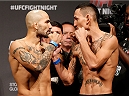 STOCKHOLM, SWEDEN - OCTOBER 03:  (L-R) Opponents Akira Corassani of Sweden and Max Holloway face off during the UFC weigh-in at the Ericsson Globe Arena on October 3, 2014 in Stockholm, Sweden.  (Photo by Josh Hedges/Zuffa LLC/Zuffa LLC)