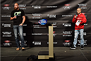 HALIFAX, NS - OCTOBER 3:  (L-R) Travis Browne and UFC announcer Jon Anik interact with fans during a Q&A session before the UFC Fight Night weigh-in at the Scotiabank Centre on October 3, 2014 in Halifax, Nova Scotia, Canada. (Photo by Jeff Bottari/Zuffa LLC/Zuffa LLC via Getty Images)