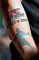 HALIFAX, NS - OCTOBER 3:  A detail shot of a fan's tattoo  as he interacts with Travis Browne and Jon Anik during a Q&A session before the UFC Fight Night weigh-in at the Scotiabank Centre on October 3, 2014 in Halifax, Nova Scotia, Canada. (Photo by Jeff Bottari/Zuffa LLC/Zuffa LLC via Getty Images)
