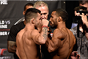 HALIFAX, NS - OCTOBER 3:  (L-R) Pedro Munhoz of Brazil and Jerrod Sanders of the United States face off during the UFC Fight Night weigh-in at the Scotiabank Centre on October 3, 2014 in Halifax, Nova Scotia, Canada. (Photo by Jeff Bottari/Zuffa LLC/Zuffa LLC via Getty Images)
