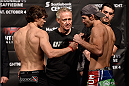 HALIFAX, NS - OCTOBER 3:  (L-R) Olivier Aubin-Mercier of Canada and Jake Lindsey of the United States face off during the UFC Fight Night weigh-in at the Scotiabank Centre on October 3, 2014 in Halifax, Nova Scotia, Canada. (Photo by Jeff Bottari/Zuffa LLC/Zuffa LLC via Getty Images)