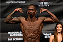 HALIFAX, NS - OCTOBER 3:  Anthony Njokuani of the United States steps on the scale during the UFC Fight Night weigh-in at the Scotiabank Centre on October 3, 2014 in Halifax, Nova Scotia, Canada. (Photo by Jeff Bottari/Zuffa LLC/Zuffa LLC via Getty Images)
