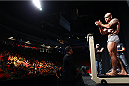 HALIFAX, NS - OCTOBER 3:  Bruno Santos of Brazil steps on the scale during the UFC Fight Night weigh-in at the Scotiabank Centre on October 3, 2014 in Halifax, Nova Scotia, Canada. (Photo by Mike Roach/Zuffa LLC/Zuffa LLC via Getty Images)
