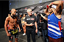 HALIFAX, NS - OCTOBER 3:  (L-R) Chad Laprise of Canada and Yosdenis Cedeno of Cuba prepare to face off during the UFC Fight Night weigh-in at the Scotiabank Centre on October 3, 2014 in Halifax, Nova Scotia, Canada. (Photo by Mike Roach/Zuffa LLC/Zuffa LLC via Getty Images)