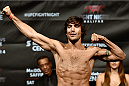 HALIFAX, NS - OCTOBER 3:  Elias Theodorou of Canada steps on the scale during the UFC Fight Night weigh-in at the Scotiabank Centre on October 3, 2014 in Halifax, Nova Scotia, Canada. (Photo by Jeff Bottari/Zuffa LLC/Zuffa LLC via Getty Images)