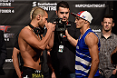 HALIFAX, NS - OCTOBER 3:  (L-R) Chad Laprise and Yosdenis Cedeno face off during the UFC Fight Night weigh-in at the Scotiabank Centre on October 3, 2014 in Halifax, Nova Scotia, Canada. (Photo by Jeff Bottari/Zuffa LLC/Zuffa LLC via Getty Images)