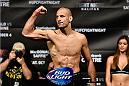 HALIFAX, NS - OCTOBER 3:  Tarec Saffiedine of Belgium steps on the scale during the UFC Fight Night weigh-in at the Scotiabank Centre on October 3, 2014 in Halifax, Nova Scotia, Canada. (Photo by Jeff Bottari/Zuffa LLC/Zuffa LLC via Getty Images)